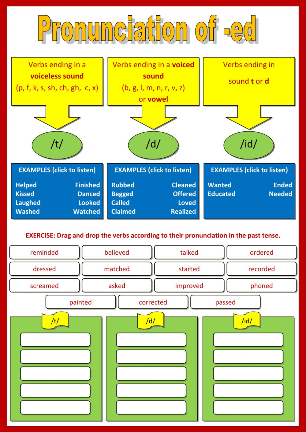 worksheet Esl Pronunciation Worksheets pronunciation of ed interactive worksheet text
