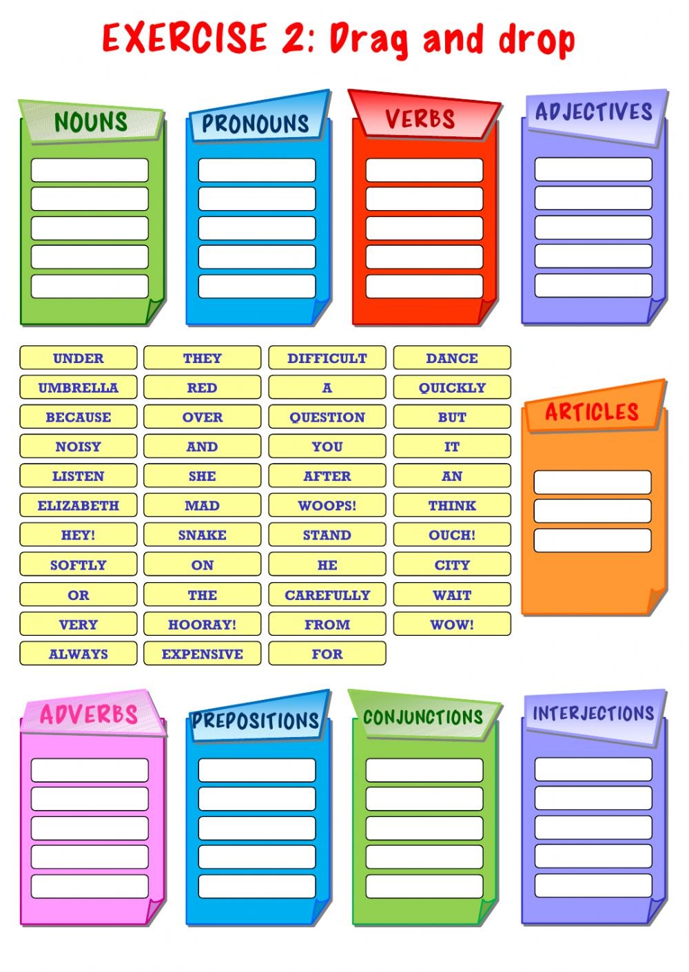 Parts of Speech Interactive worksheet