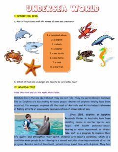 Interactive worksheet undersea world