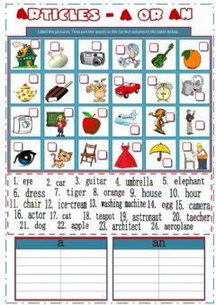 Interactive worksheet Articles A or An