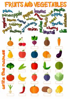 Fruits and vegetables worksheet preview