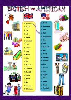 British vs American English worksheet preview