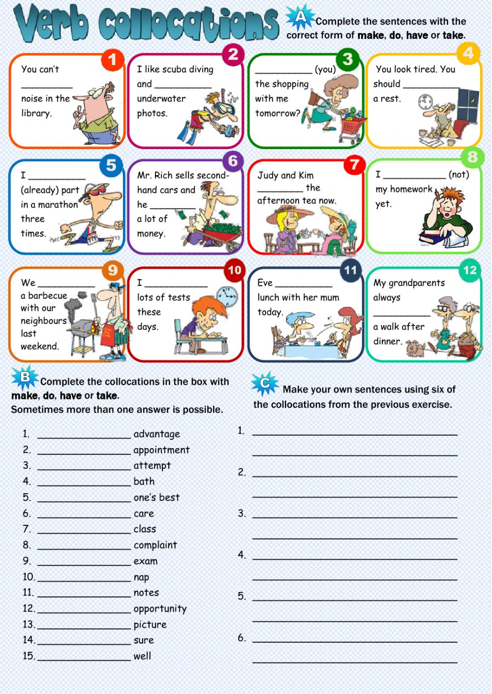 Verb collocations - Interactive worksheet