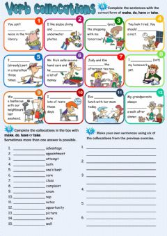 Verb collocations worksheet preview