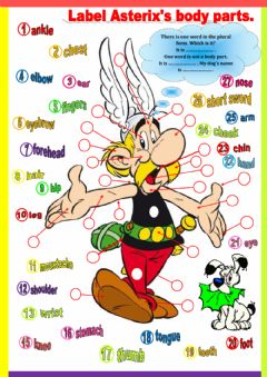 Asterix's body parts worksheet preview