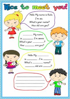 Interactive worksheet Nice to meet you
