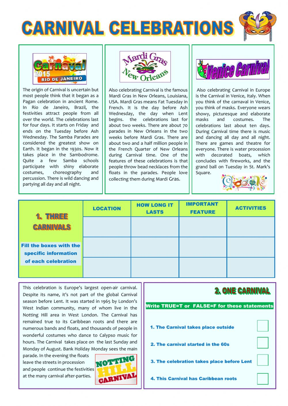 - Carnival Celebrations Intermediate Level - Interactive Worksheet