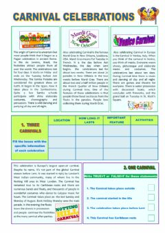 Interactive worksheet Carnival Celebrations Intermediate Level