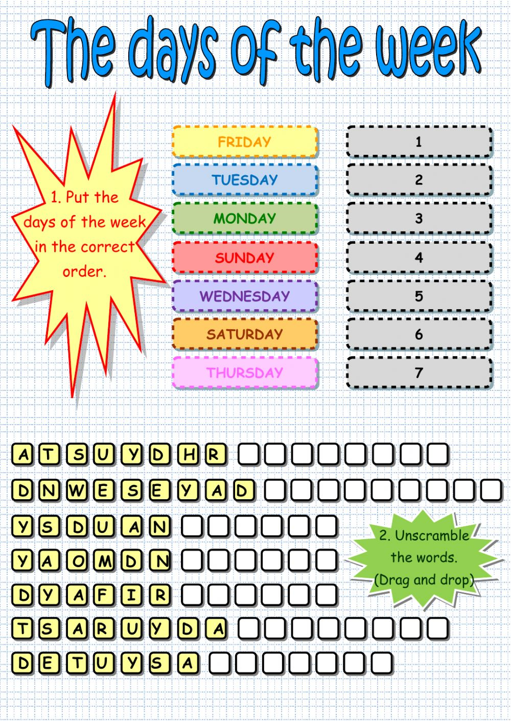 Days of the week Interactive worksheets
