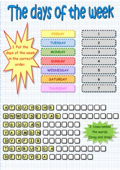 Interactive worksheet The days of the week