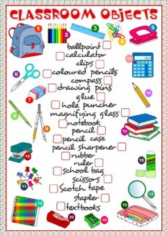 Classroom object worksheet preview