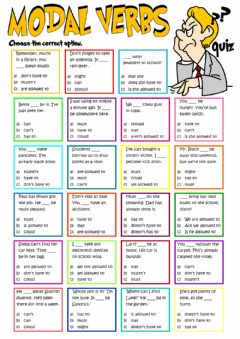 Modal verbs - quiz worksheet preview