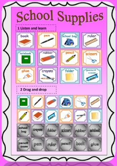 Interactive worksheet School Supplies (drag and drop, listen, write, speak)