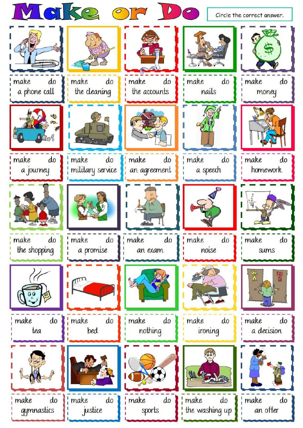 Make or do - collocations - Interactive worksheet