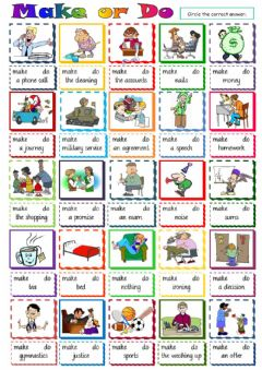 Interactive worksheet Make or do - collocations