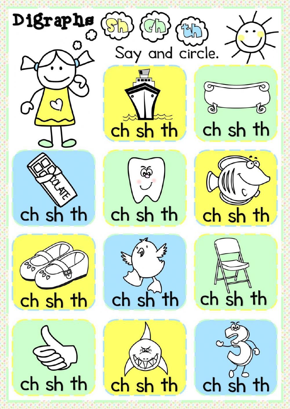 worksheet Ch Worksheet digraphs sh ch th interactive worksheet text
