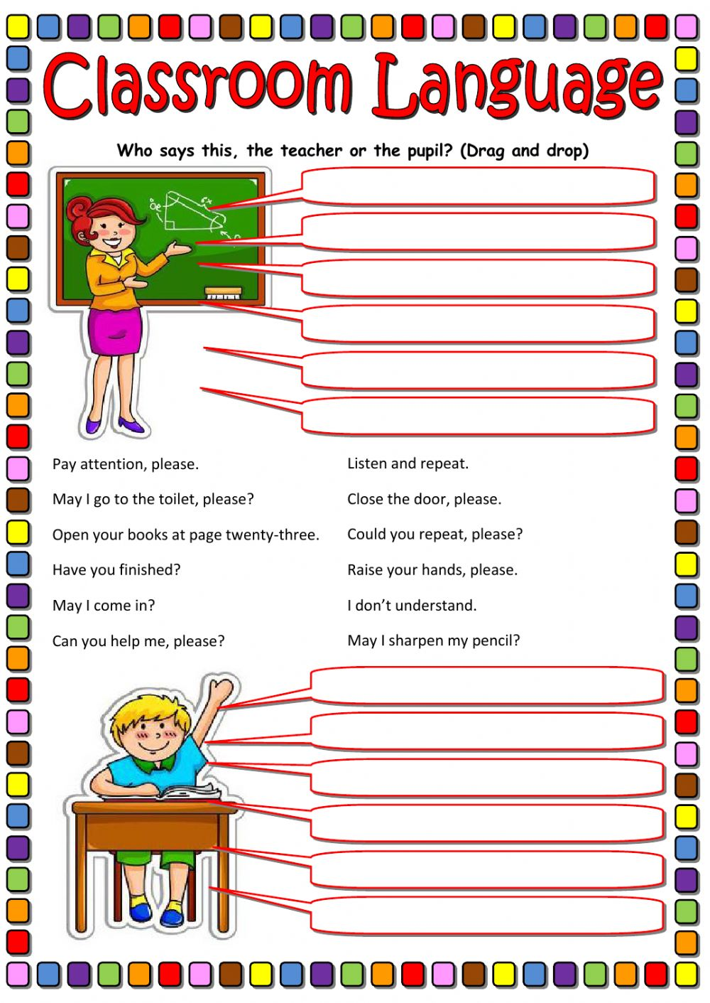 classroom language interactive worksheet. Black Bedroom Furniture Sets. Home Design Ideas