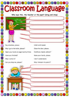 Classroom Language worksheet preview