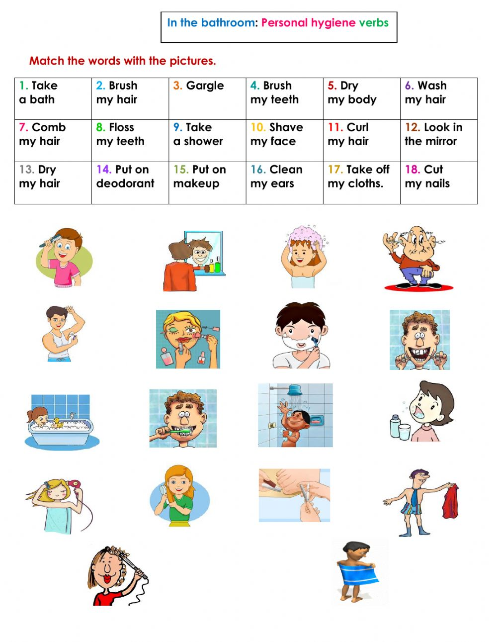 Worksheets Personal Hygiene Worksheets the bathroom personal hygiene verbs interactive worksheet text