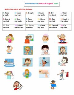 The bathroom: Personal hygiene verbs worksheet preview
