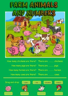 Farm animals and numbers worksheet preview