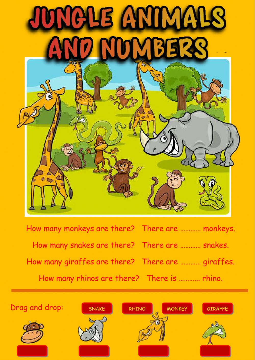 Jungle Animals And Numbers Interactive Worksheet