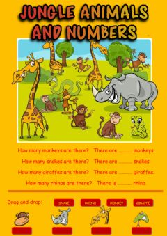 Jungle animals and numbers worksheet preview