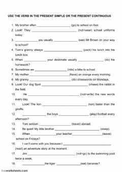 Interactive worksheet The present simple and the  present continuous