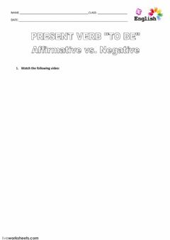 present verb TO BE. affirmative and negative. worksheet preview