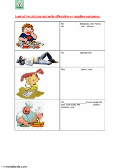 present  continuous worksheet preview