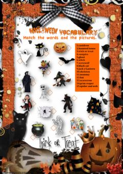 Interactive worksheet Halloween- matching exercise