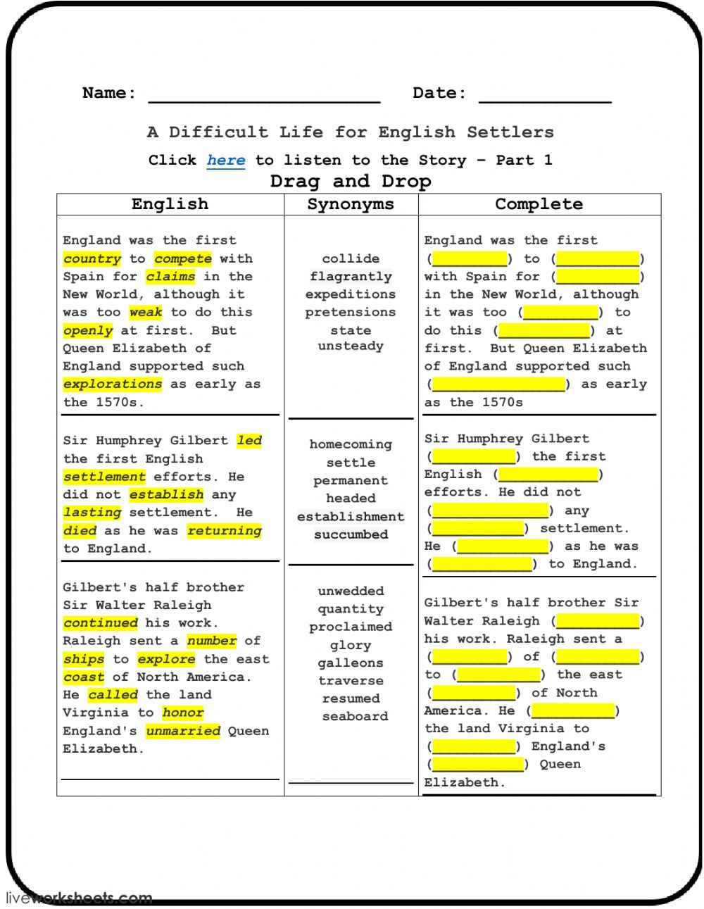 A Difficult Life For English Settlers Part 1 Interactive Worksheet
