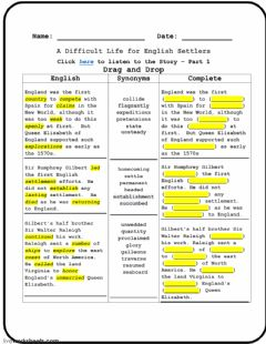 Interactive worksheet A Difficult Life for English Settlers - Part 1