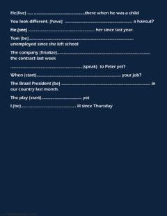 Simple past and present perfect worksheet preview