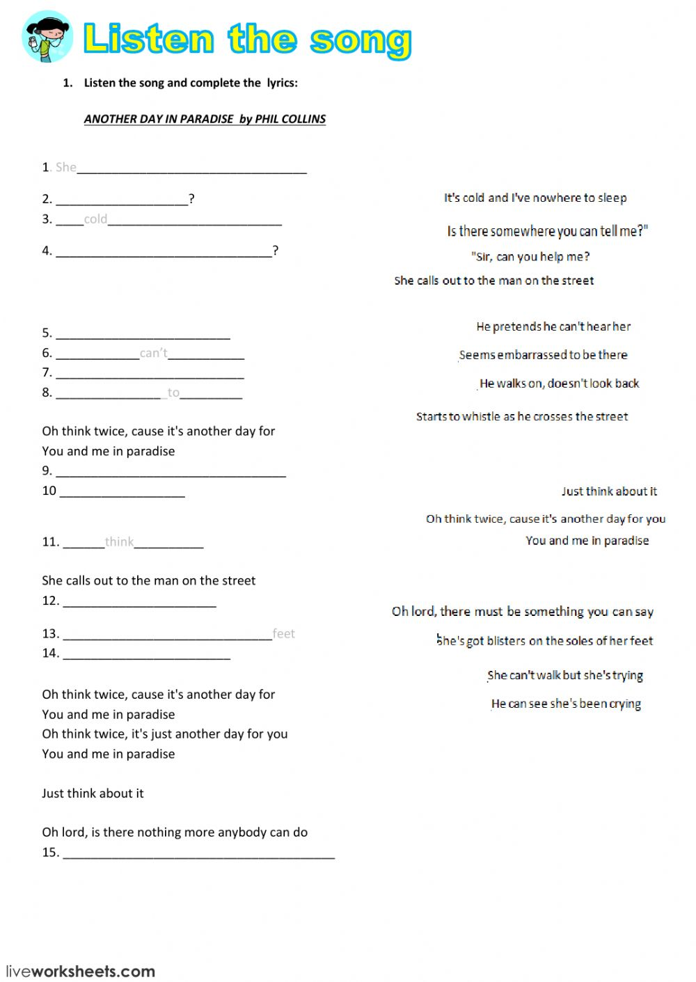 Worksheets Listening Comprehension Worksheets listening comprehension interactive worksheet