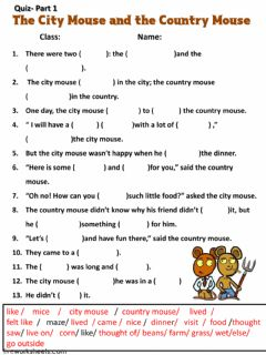 Interactive worksheet The City Mouse and the Country Mouse