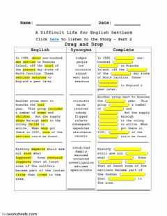 Ficha interactiva A Difficult Life for English Settlers - Part 2