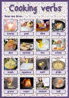 Interactive worksheet Cooking verbs (listen and learn)