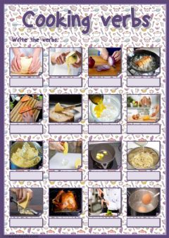 Ficha interactiva Cooking verbs (writing)