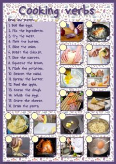 Ficha interactiva Cooking verbs (matching)