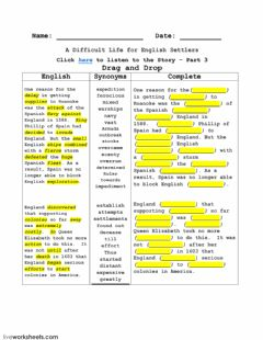 Interactive worksheet A Difficult Life for English Settlers - Part 3