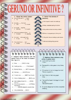 Gerund or Infinitive worksheet preview