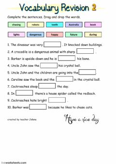 Interactive worksheet Vocabulary revision 2