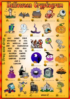 Halloween Cryptogram worksheet preview