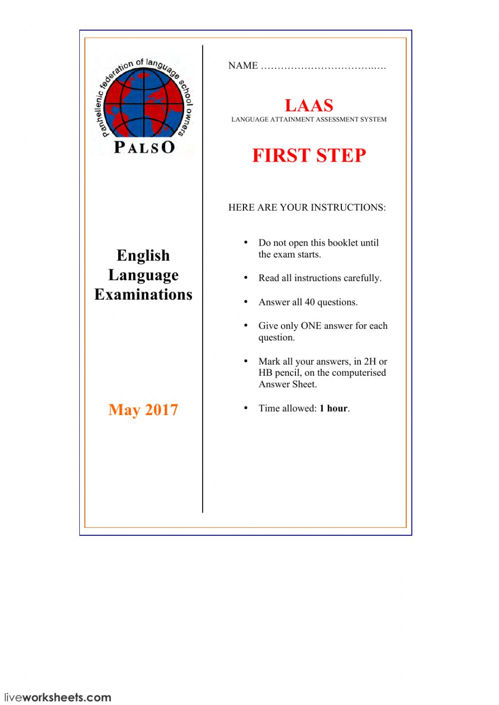 Laas First Step May 2017 Interactive Worksheet
