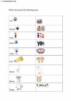 Interactive worksheet irregular plural nouns