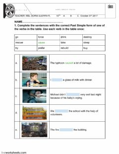 Interactive worksheet Past simple and continuous tenses