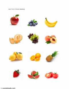 Interactive worksheet Fruit in Chinese