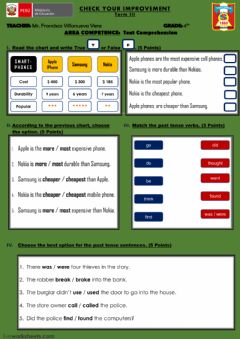 Interactive worksheet Test - Comparatives and Superlatives - past tense