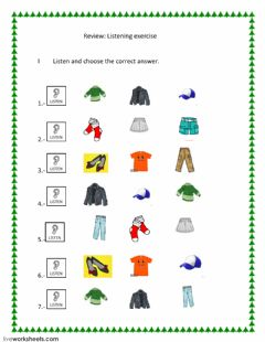 Interactive worksheet Clothes: Listening Exercise